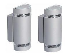 Etc-shop - Set di 2 lampade da parete portico esterno faretti dimmer set telecomando incluso