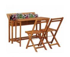 Tavolo con Fioriera da Balcone e 2 Sedie in Massello di Acacia - Marrone - Youthup