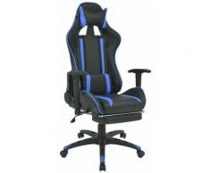 Sedia da Ufficio Racing Reclinabile con Poggiapiedi Blu