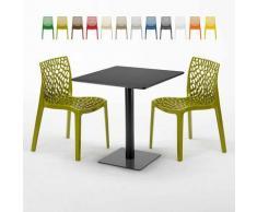Tavolino Quadrato Nero 70x70 cm con 2 Sedie Colorate GRUVYER KIWI | Verde Anice