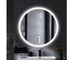 Specchio per il trucco Specchio da parete rotondo + illuminazione a LED e interruttore tattile 70 *