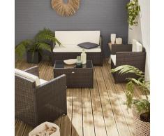 Salotto da giardino in resina intrecciata, colore: Cioccolato - modello: Perugia - Cuscini, colore: