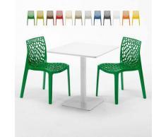 Tavolino Quadrato Bianco 70x70 cm con 2 Sedie Colorate Gruvyer Meringue   Verde 2