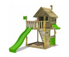 FATMOOSE Parco giochi in legno GroovyGarden Giochi da giardino con scivolo mela verde Casetta da