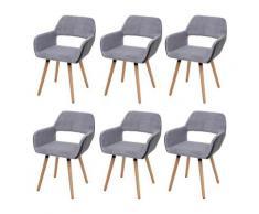 Set 6x sedie sala da pranzo HWC-A50 II design retro legno ecopelle velluto grigio