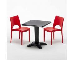 Tavolino Quadrato Nero 70x70 cm con 2 Sedie Colorate PARIS AIA | Rosso