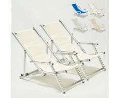 2 Sedie sdraio giardino mare spiaggia con braccioli Riccione Lux | Bianco