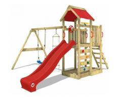 WICKEY Parco giochi in legno MultiFlyer Giochi da giardino con altalena e scivolo Rosso, Torre di