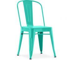 Sedia stile Tolix sedile quadrato - Nuova Edizione - Metallo Pastel green
