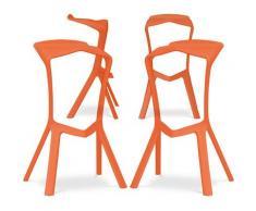 Sgabello Design Marcus - Pack di 4 Arancione chiaro