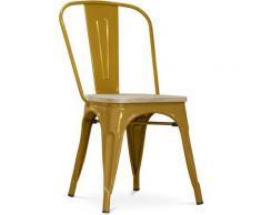 Sedia stile Tolix - Metallo e legno chiaro Oro