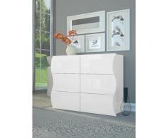 Zenzero Shop - Madia/ Comò 6 cassetti sagomati in finitura bianco laccato lucido, linea onda