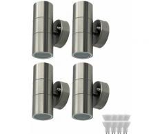 Etc-shop - Set di 4 faretti esterni parete esterni Faretti interni LED in acciaio inox con
