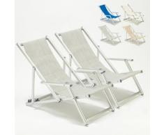 2 Sedie sdraio giardino mare spiaggia con braccioli Riccione Lux | Grigio