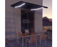 Tenda da Sole Retrattile Manuale con LED 400x300 cm Antracite - Grigio - Vidaxl