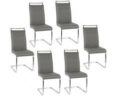 ® Set di 6 sedie Mia bianche per sala da pranzo-grigio - Wyctin