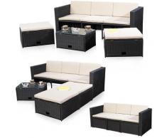 Mobili in rattan nero gruppo di seduta Poly Rattan divano e 2 sgabelli Lounge