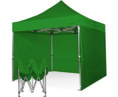 Gazebo pieghevole 3x3 verde Exa 55mm alluminio con laterali. PVC 350g