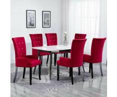 YOUTHUP Sedia da Pranzo con Braccioli 6 pz Velluto Rosso - Rosso