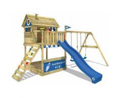 WICKEY Parco giochi in legno Smart Seaside Giochi da giardino con altalena e scivolo blu Casa su
