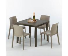 Tavolino Quadrato Marrone 90x90 cm con 4 Sedie Colorate BROWN PASSION | Rome Beige Juta