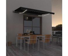 vidaXL Tenda Automatica con Sensore Vento e LED 400x350 cm Antracite - Antracite