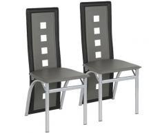 Set di 2 Sedie Da Pranzo Moderne, Grigio + Nero