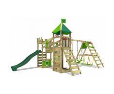 FATMOOSE Parco giochi in legno RiverRun Giochi da giardino con altalena SurfSwing e scivolo verde