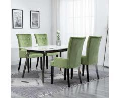 Sedia da Pranzo con Braccioli 4 pz in Velluto Verde Chiaro - Verde - Youthup