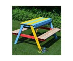 Tavolo da picnic per bambini 89x85x49 cm con panche