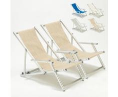 2 Sedie sdraio giardino mare spiaggia con braccioli Riccione Lux | Beige
