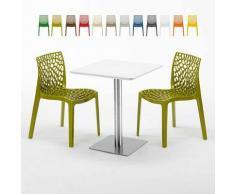 Tavolino Quadrato 60x60 cm Top Bianco con 2 Sedie Colorate Gruvyer Hazelnut   Verde Anice