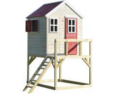 Casetta da giardino bambini piattaforma 90 cm Estate Lodge -Rosso