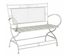 Divanetto/panchina in ferro battuto finitura bianca anticata 120x52x79 cm