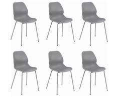 Set di 6 Sedie per sala da pranzo in plastica polipropilene alta resistenza qualità di design