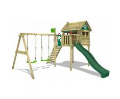 FATMOOSE Parco giochi in legno FunFactory Giochi da giardino con altalena e scivolo verde Casa su