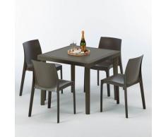 Tavolino Quadrato Marrone 90x90 cm con 4 Sedie Colorate Brown Passion   Rome Marrone Moka