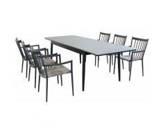 Set Tavolo Da Giardino Allungabile In Alluminio E Polywood 160/240 X 90 Compreso Di 6 Poltrone