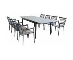 Set Tavolo Da Giardino Allungabile In Alluminio E Polywood 160/240 X 90 Compreso Di 8 Poltrone