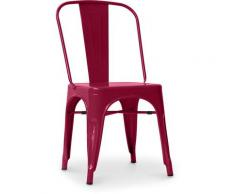 Sedia stile Tolix sedile quadrato - Nuova Edizione - Metallo Fucsia