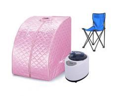 Cabina sauna a vapore Sauna Portable Home Mobile Hammam e sauna (rosa) - Rose