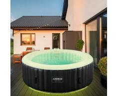 Details zu AREBOS In-Outdoor Whirlpool Spa Piscina Benessere Gonfiabile Rotondo Con LED