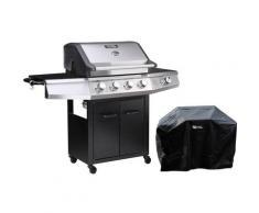 Barbecue a gas Bingo 5 - 5 piastre di cui 1 laterale - 15.2kW + Fodera di protezione -Nero