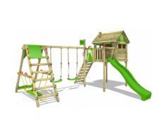 FATMOOSE Parco giochi in legno FunFactory Giochi da giardino con altalena SurfSwing e scivolo mela