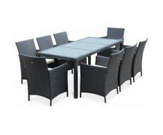 Salotto da giardino, modello: Tavola, 8 posti, colore: Nero, in resina intrecciata, tavolo da