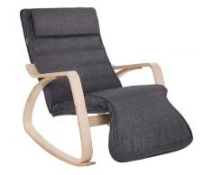 Sedia a Dondolo, Poltrona Oscillante con Poggiapiedi, Schienale Ergonomico, Strutture in Legno,