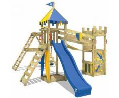WICKEY Parco giochi in legno Smart Legend 150 Giochi da giardino con altalena e scivolo blu Torre