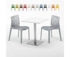 Tavolino Quadrato 60x60 cm Top Bianco con 2 Sedie Colorate GRUVYER HAZELNUT | Grigio