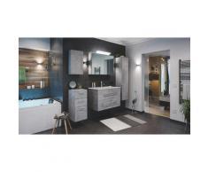 Set di mobili da bagno Firenze 90 (5 parti/C) grigio cemento, armadio a specchio