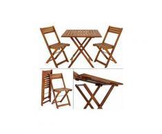 Set Tavolo con Sedie 3 pz da Balcone in Legno Massello di Acacia